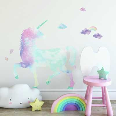 RoomMates Galaxy Unicorn Peel And Stick Giant Wall Decal With Glitter, pink/ blue/ purple/ aqua - Home Depot