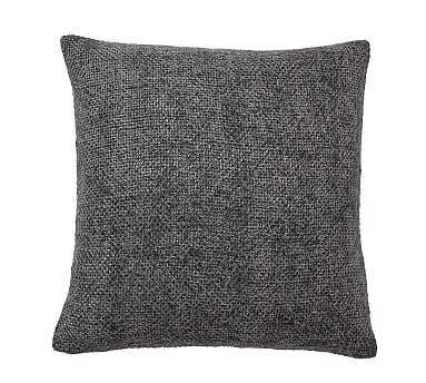 "Faye Textured Linen Pillow Cover, 20"", Charcoal - Pottery Barn"