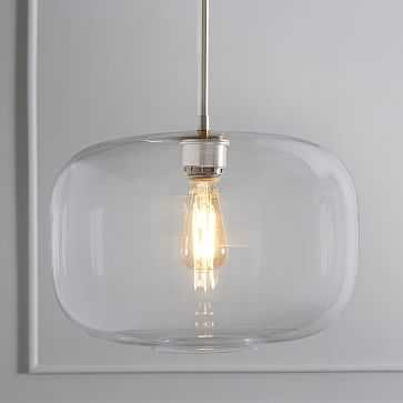 Sculptural Glass Plug In Pendant Clear Large Pebble Polished Nickel - West Elm