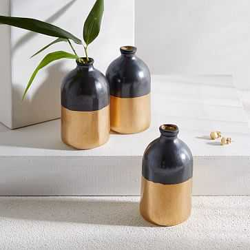 Honeycomb Studio Bud Vase, Black + Gold - West Elm
