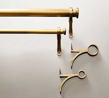 "PB Standard Curtain Rod & Wall Bracket, 1.25"" diam., Small, Brass (28"" - 48"") - Pottery Barn"