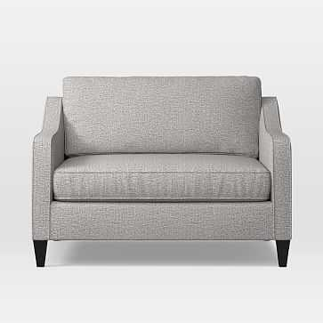 Paidge Chair And A Half Twin Sleeper, Deco Weave, Feather Grey - West Elm