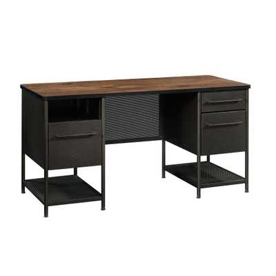 SAUDER Boulevard Cafe Black and Vintage Oak Executive Desk - Home Depot