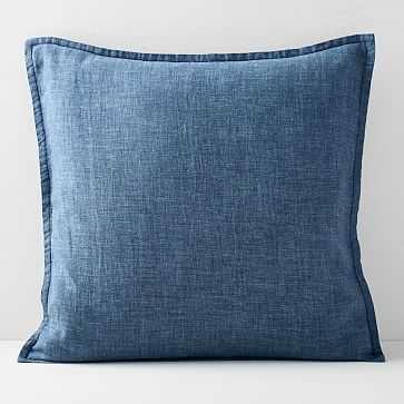"""Belgian Flax Linen Pillow Cover, Indigo, 20""""x20"""" - West Elm"""