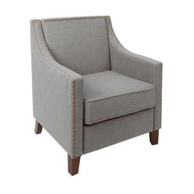 Stevenson Light Grey Sloped Arm Upholstered Club Chair with Nailhead Trim, Light Gray - Home Depot