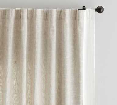 "Emery Framed Border Linen Drape, 50 x 108"", Flax/Ivory - Pottery Barn"