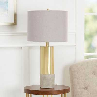 Silverwood Nicole 24.75 in. Gold Table Lamp with Linen Shade - Home Depot