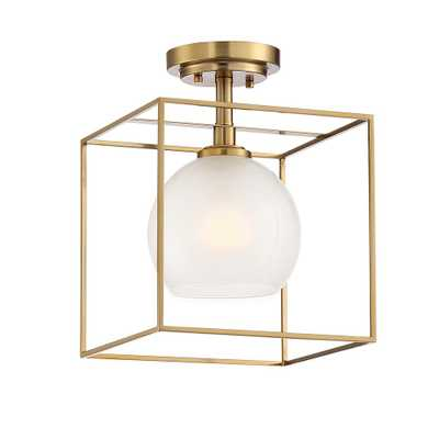 Designers Fountain Cowen 10 in. 1-Light Brushed Gold Interior Semi Flush Mount with Clear Polished Etched Glass Shade - Home Depot