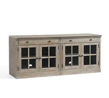 Livingston Small TV Stand with Glass Doors, Gray Wash - Pottery Barn