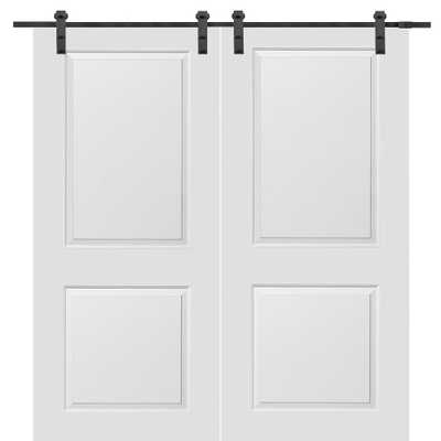 MMI Door 72 in. x 80 in. Primed Molded MDF Carrara Barn Door with Sliding Door Hardware Kit - Home Depot