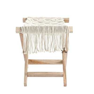Rhoades Wood Folding Stool With Cotton Macramé Seat & Long Fringe - Wayfair