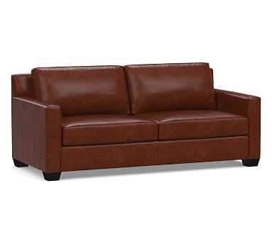 York Square Arm Leather Sofa Down Blend Wrapped Cushions, Statesville Molasses - Pottery Barn