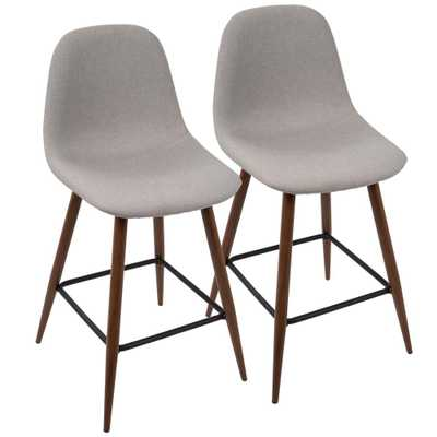 Pebble 24 in. Walnut and Light Grey Counter Stool (Set of 2), Light Grey/Brown - Home Depot