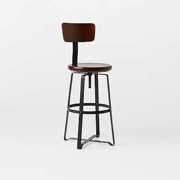 Adjustable Industrial Counter Stool With Back, Solid Wood, Natural/Raw Steel - West Elm