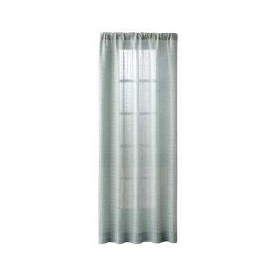"""Isabela Aqua Grid Curtain Panel 50""""x96"""" - Crate and Barrel"""