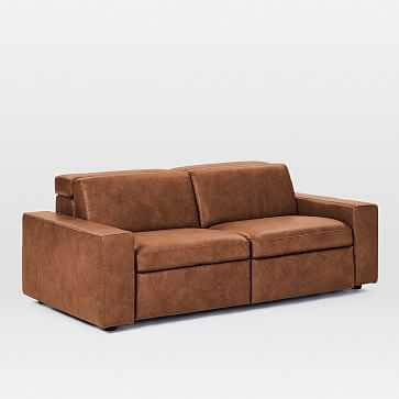 """Enzo Sectional Set 25: Power Sofa (8"""" Arm + 30"""" Single With Power + 30"""" Single With Power + 8"""" Arm), Poly, Leather, Old Saddle, Concealed Supports - West Elm"""