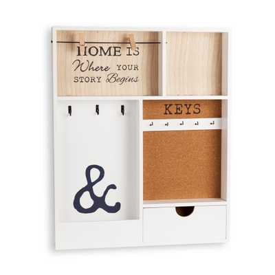 Entryway White MDF Key/Mail Holder Wall Organizer - Home Depot