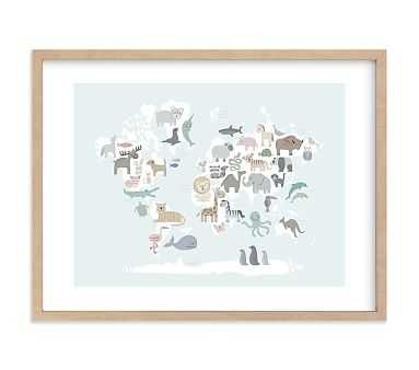 Wild World Map Wall Art by Minted(R), 24x18, Natural - Pottery Barn Kids
