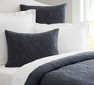 Washed Cotton Quilt, Full/Queen, Midnight - Pottery Barn