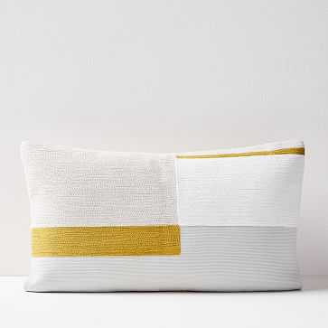"""Crewel Stacked Blocks Pillow Cover, Belgian Flax, 12""""x21"""" - West Elm"""
