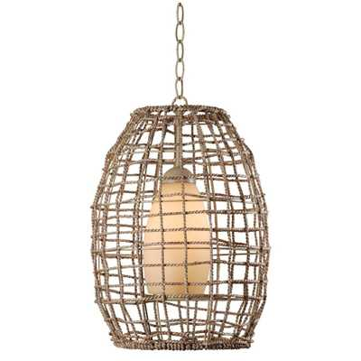 Seagrass 1-Light Tan Rope Pendant - Home Depot