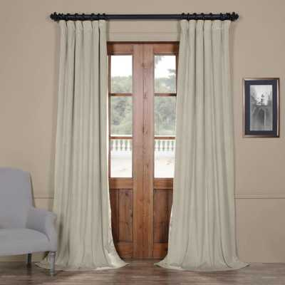 Exclusive Fabrics & Furnishings Blackout Signature Cool Beige Blackout Velvet Curtain - 50 in. W x 108 in. L (1 Panel) - Home Depot