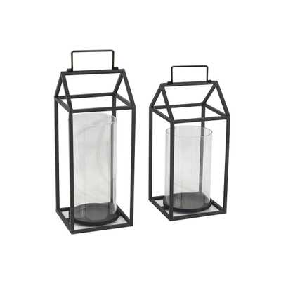 StyleWell Black Hurricane Glass Candle Holders (Set of 2) - Home Depot