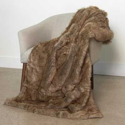 Wild Mannered 54 in. x 36 in. Coyote Faux Fur Throw, Coyote Fur - Home Depot