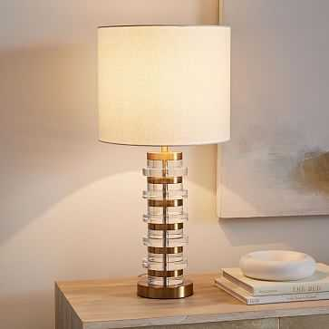 Clear Disc Table Lamp + USB, Antique Brass - West Elm