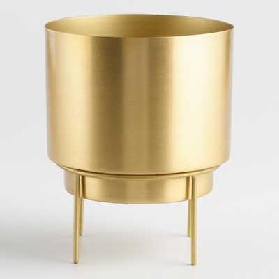 Brass Planter with Stand: Metallic/Gold by World Market - World Market/Cost Plus