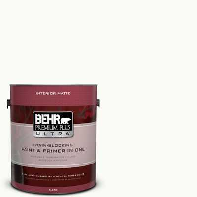 BEHR Premium Plus Ultra 1 gal. #PPU18-6 Ultra Pure White Matte Interior Paint and Primer in One, Whites - Home Depot