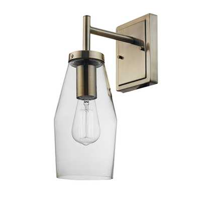 Globe Electric Blake 1-Light Antique Brass Wall Sconce with Clear Glass Shade - Home Depot