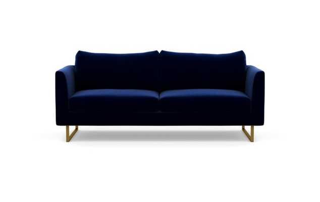 Owens Sofa with Blue Bergen Blue Fabric and Matte Brass legs - Interior Define