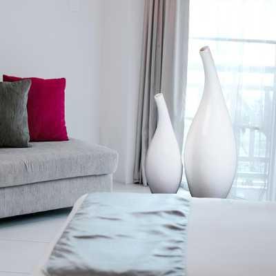 Modern 27.5 in. High White Abstract Floor Vase - Home Depot