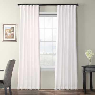 Exclusive Fabrics & Furnishings Eggshell White Blackout Faux Silk Taffeta Rod Pocket Curtain - 50 in. W x 108 in. L - Home Depot