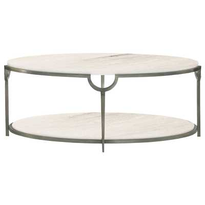 Laci Hollywood Regency Silver Marble Oval Coffee Table - Kathy Kuo Home