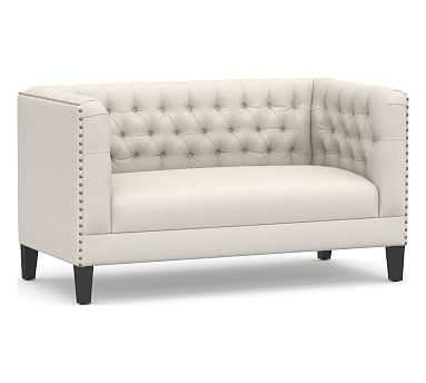 Tuxedo Upholstered Settee, Polyester Wrapped Cushions, Performance Heathered Tweed Ivory - Pottery Barn