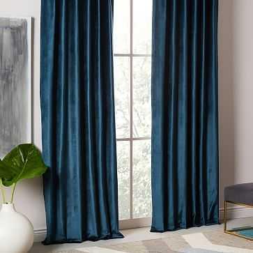 "Luster Velvet Curtain, Regal Blue, 48""X108"" - West Elm"