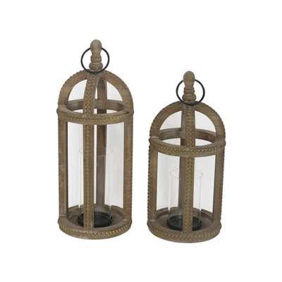 Home Decorators Collection Natural Beaded Trim Wood Lantern (Set of 2) - Home Depot