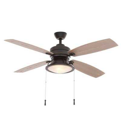 Hampton Bay Kodiak 52 in. Indoor/Outdoor Dark Restoration Bronze Ceiling Fan with Light Kit - Home Depot