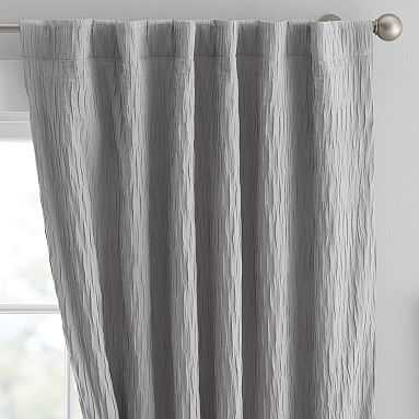 "Allover Pleated Blackout Drape, 108"", Light Gray - Pottery Barn Teen"