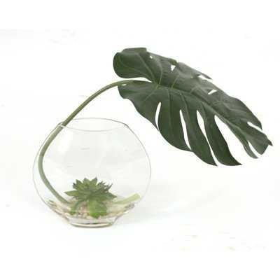Philodendron Leaf, Lotus Pods Desk Top Plant in Decorative Vase - AllModern