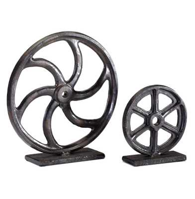 Industrial Loft Iron Mechanics Wheel Sculpture - 10 Inch - Kathy Kuo Home