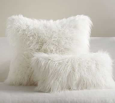 "Faux Fur Mongolian Lumbar Pillow Cover, 12 x 24"", White - Pottery Barn"