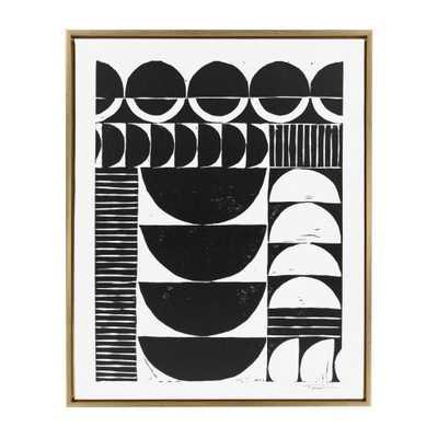 """Sylvie """"Modern Circular Pattern Block Print"""" by Statement Goods Framed Canvas Wall Art, Gold - Home Depot"""