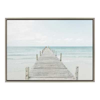 "Kate and Laurel Sylvie ""Wooden Pier on the Beach"" by Amy Peterson Framed Canvas Wall Art, Gray - Home Depot"