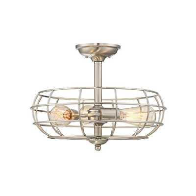 Filament Design 3-Light Satin Nickel Semi-Flushmount - Home Depot