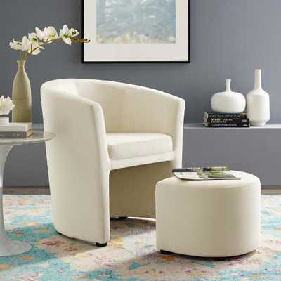 MODWAY Divulge Performance Velvet Arm Chair and Ottoman Set in Ivory - Home Depot