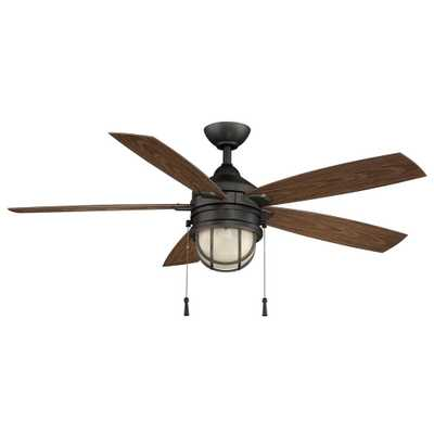 Hampton Bay Seaport 52 in. LED Indoor/Outdoor Natural Iron Ceiling Fan with Light Kit - Home Depot
