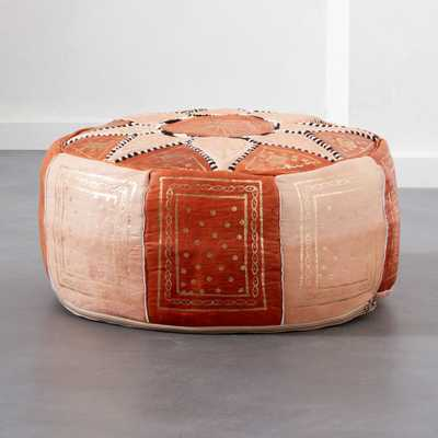 Moroccan Leather Pouf - CB2